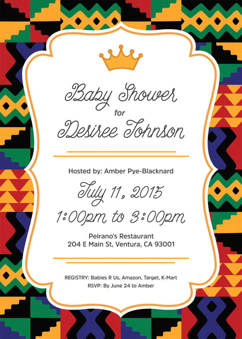 Lisa Bun African Prince Baby Shower Invitation